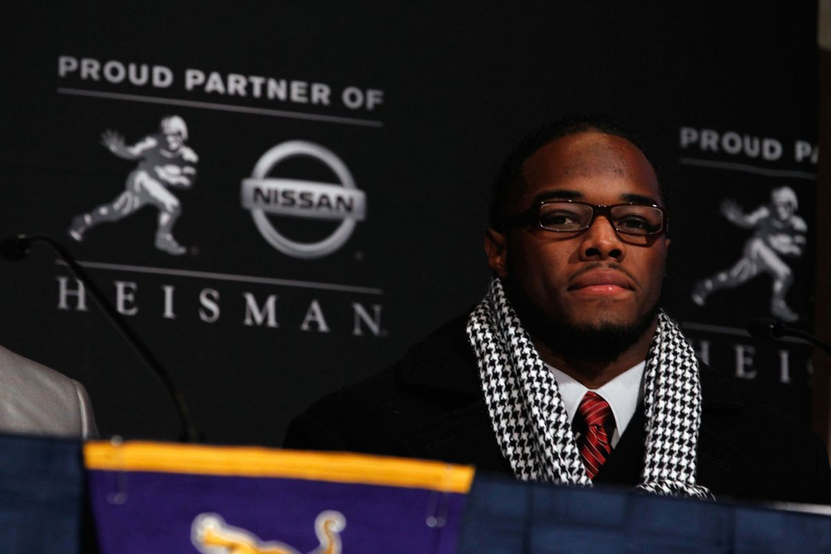 NEW YORK, NY - DECEMBER 10:  Heisman Trophy finalist Trent Richardson of the Alabama Crimson Tide speaks during a press conference at The New York Marriott Marquis on December 10, 2011 in New York City.  (Photo by Jeff Zelevansky/Getty Images)