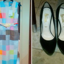 Here's a very similar dress, originally $1085 but now $434, with shoes to match.