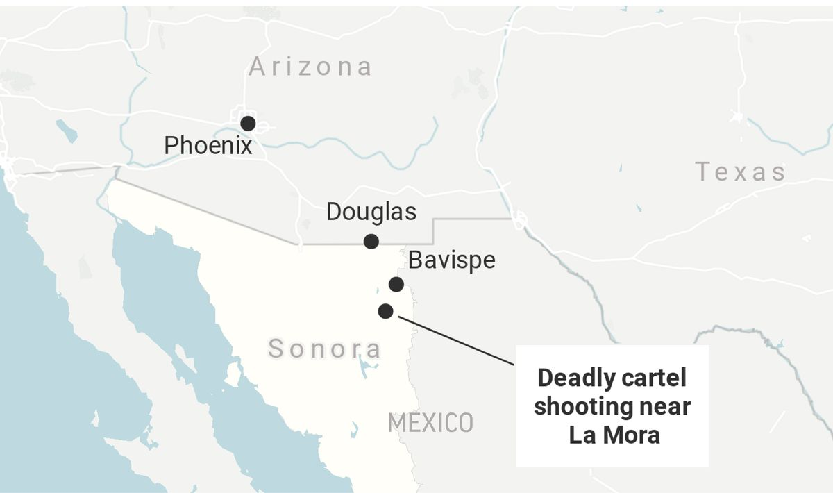 This map locates the site of the cartel killings of at least nine U.S. citizens in the Mexican state of Sonora.