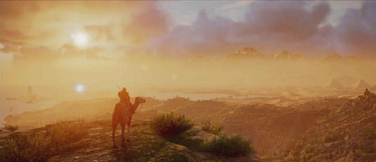 Assassin's Creed Origins - Bayek on horseback at sunset