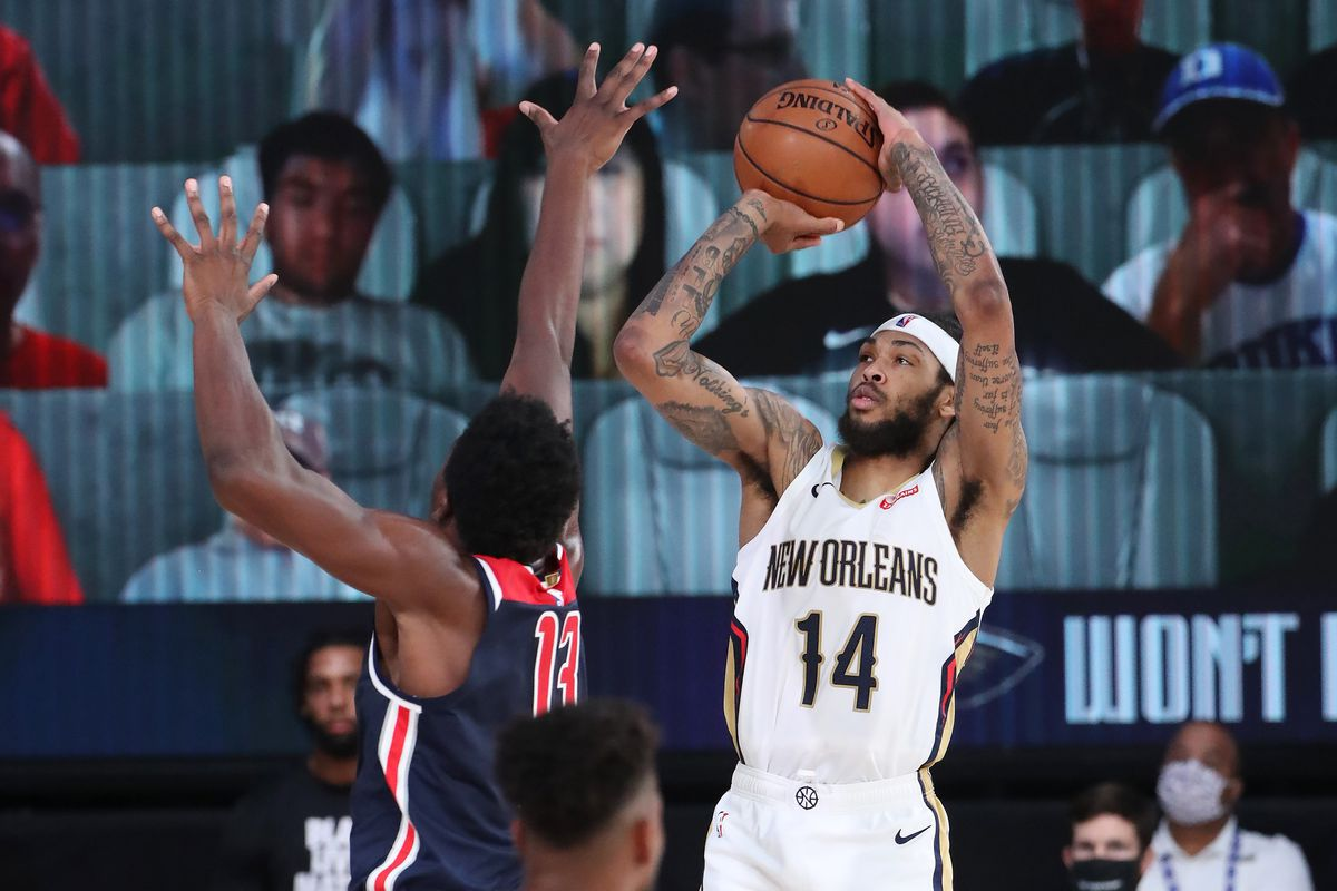 Brandon Ingram of the New Orleans Pelicans shoots the ball against the Washington Wizards on August 7, 2020 at The Arena at ESPN Wide World of Sports in Orlando, Florida.
