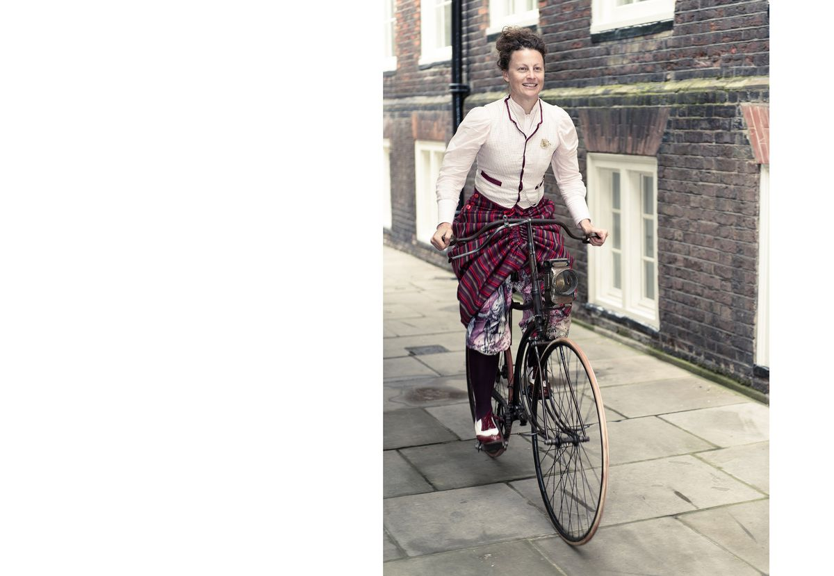 Kat Jungnickel wearing one of Alice Bygrave's patented convertible cycling skirts
