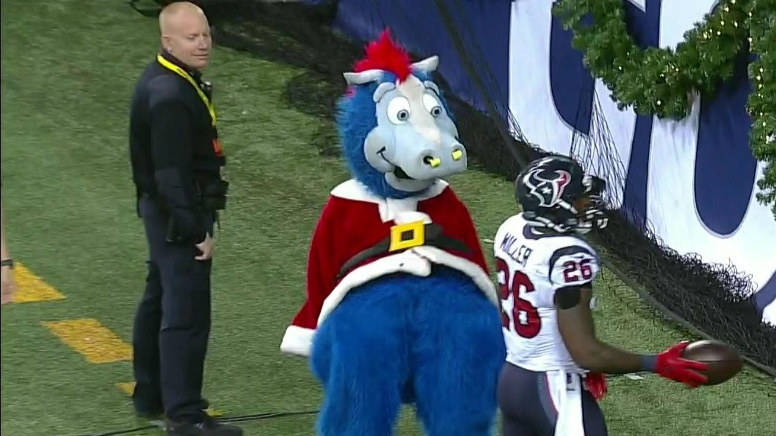 Colts mascot is using pelvic thrusts to intimidate the
