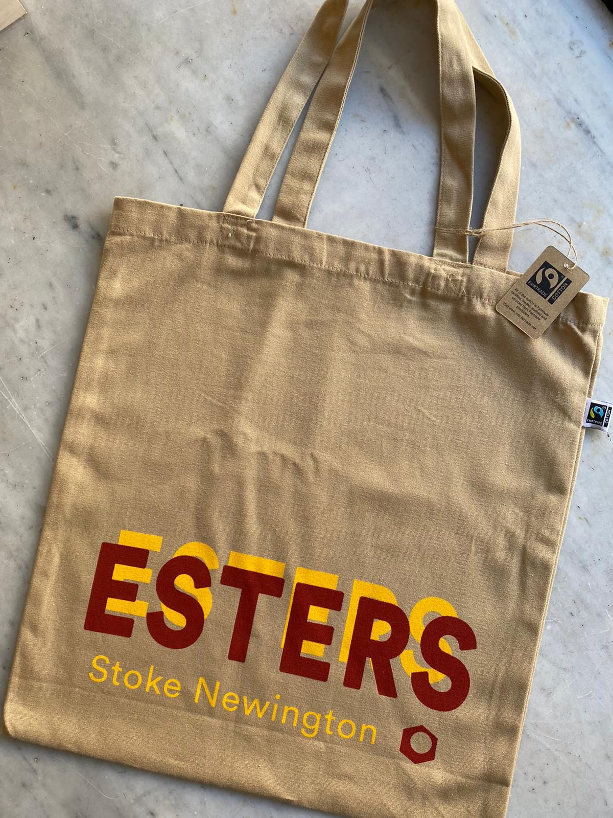 London's best restaurant merch includes this Esters tote bag with the Stoke Newington cafe's red logo
