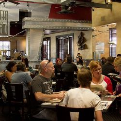 Diners waited in line to get into Hash House A Go Go on Wednesday.