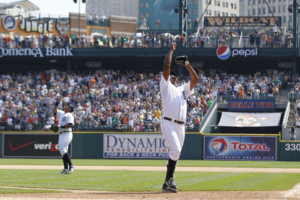 DETROIT - JULY 17: Miguel Cabrera #24 and Jose Valverde #46 of the Detroit Tigers celebrates a 4-3 win over the Chicago White Sox during the game at Comerica Park on July 17, 2011 in Detroit, Michigan.  (Photo by Leon Halip/Getty Images)