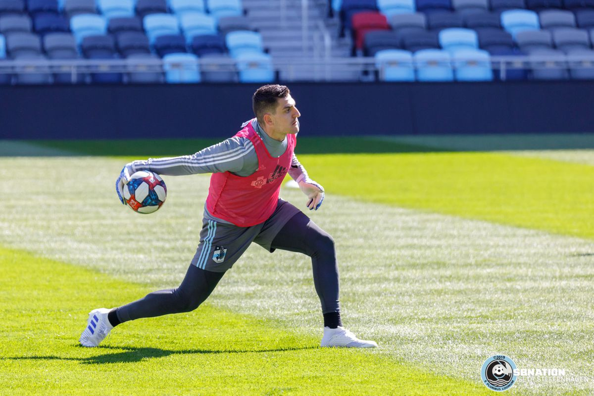 April 3, 2019 - Saint Paul, Minnesota, United States - Minnesota United goalkeeper Vito Mannone (1) throws the ball back into play during the Loon's first team practice at Allianz Field.   (Photo by Seth Steffenhagen/Steffenhagen Photography)