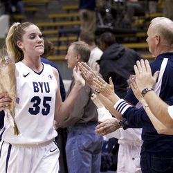 BYU Senior Kristen Riley thanks the fans after BYU's loss to USC in the third round of the National Invitational Tournament on Wednesday, March 23, 2011. BYU lost 50-62.
