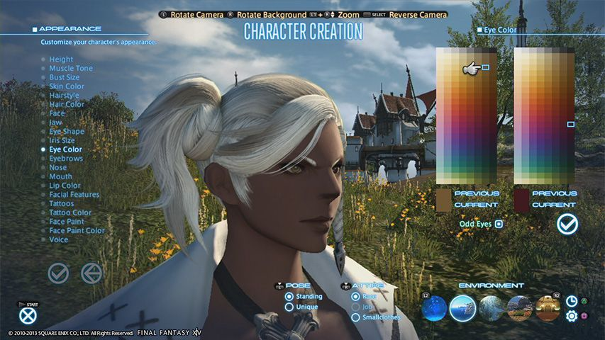 The character creation screen from Final Fantasy