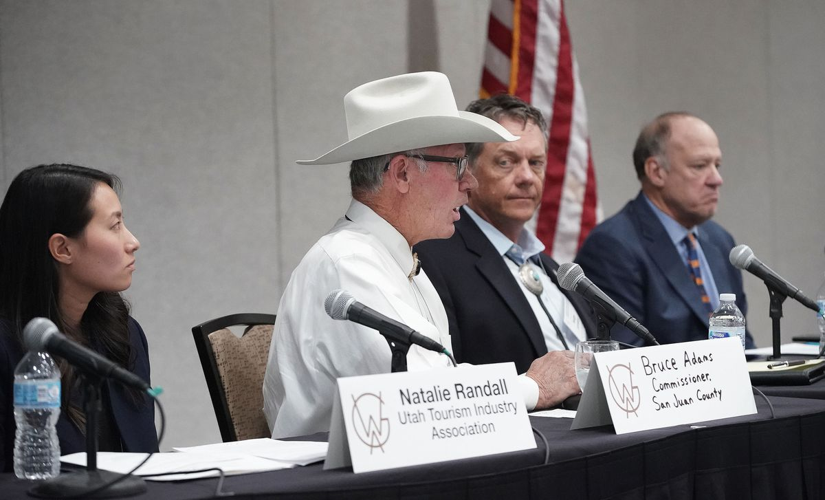 San Juan County Commissioner Bruce Adams speaks on a panel during a Western Governors' Association workshop for the Working Lands, Working Communities Initiative in Salt Lake City on Wednesday, Sept. 29, 2021.
