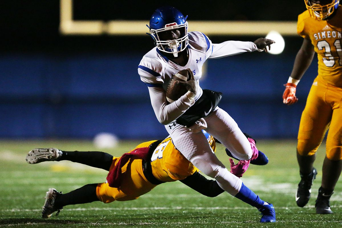 Phillips' Antonio Brown (8) carries the ball against Simeon, Chicago, lllinois, October 5, 2019.