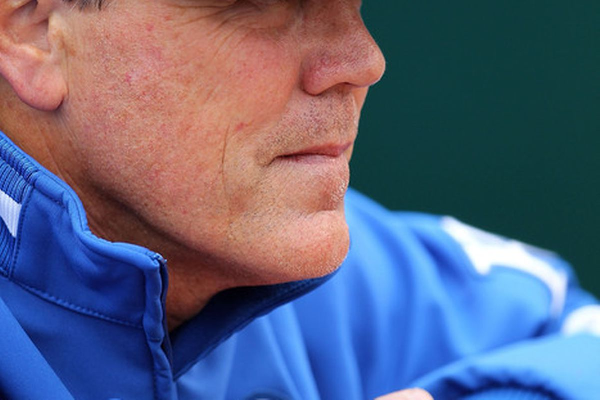 KANSAS CITY, MO - MAY 16:  Manager Ned Yost #2 of the Kansas City Royals looks on from the dugout during the game against the Chicago White Sox on May 16, 2010 at Kauffman Stadium in Kansas City, Missouri.  (Photo by Jamie Squire/Getty Images)
