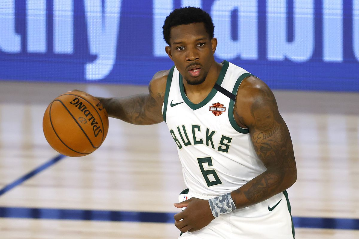 Eric Bledsoe of the Milwaukee Bucks moves the ball up court against the Toronto Raptors during the second quarter at The Field House at ESPN Wide World Of Sports Complex on August 10, 2020 in Lake Buena Vista, Florida.