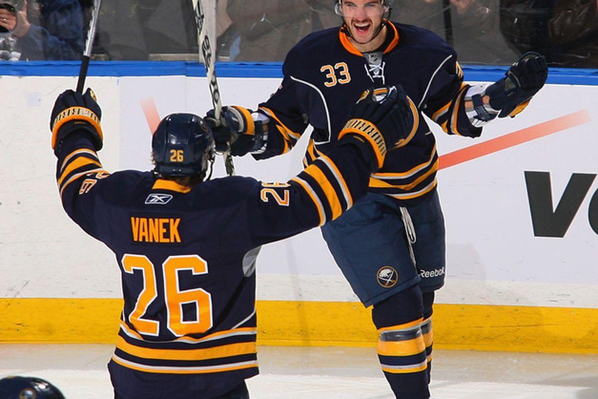 Thomas Vanek is very happy that the Sabres re-signed Brennan. Yaaaaaaay!