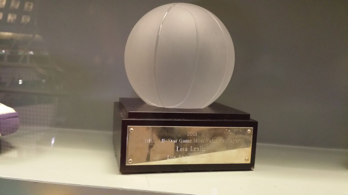 Lisa Leslie's award topped with a glass basketball