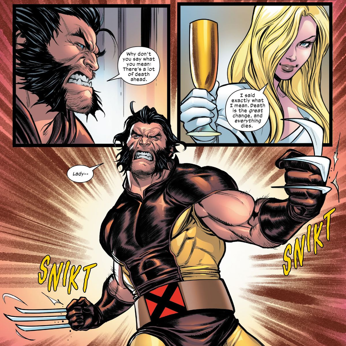 """Death is the great change, and everything dies,"" says Lady Saturnyne in Marauders #14, Marvel Comics (2020). Wolverine pops his claws and goes on the attack."