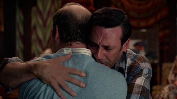 Don hugs Leonard on the Mad Men finale.