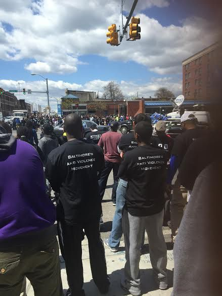A West Baltimore block party Tuesday afternoon featured speakers addressing Monday's riots