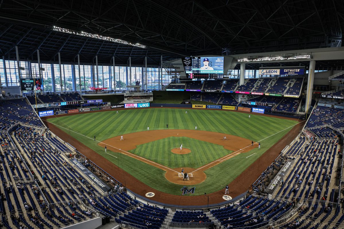 A general view of the ballpark featuring the new naming rights partner loanDepot during the Miami Marlins workout before their Opening Day game against the Tampa Bay Rays at loanDepot park on April 01, 2021 in Miami, Florida.