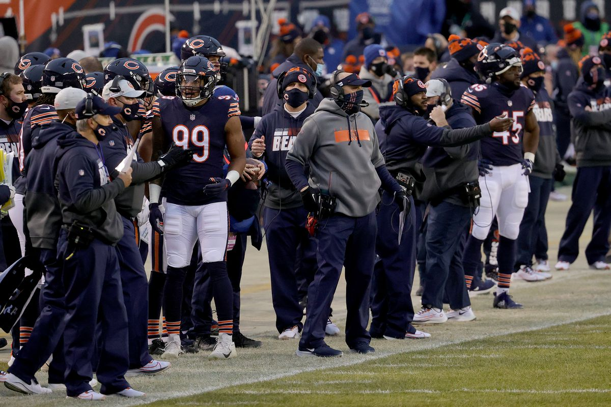Matt Nagy of the Chicago Bears looks on from the sidelines against the Green Bay Packers during the first quarter in the game at Soldier Field on January 03, 2021 in Chicago, Illinois.