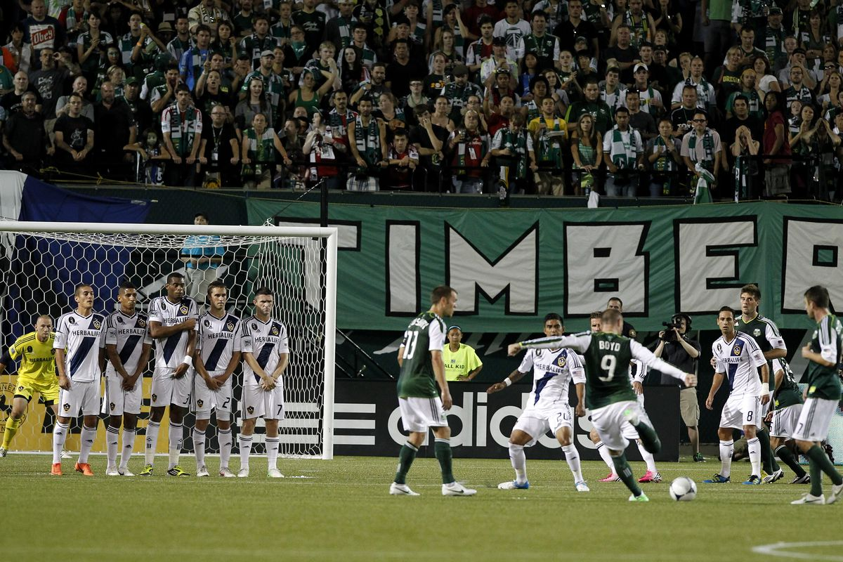 PORTLAND, OR - JULY 14:  Kris Boyd #9 of the Portland Timbers scores a goal on a free kick against the Los Angeles Galaxy on July 14, 2012 at Jeld-Wen Field in Portland, Oregon.  (Photo by Jonathan Ferrey/Getty Images)