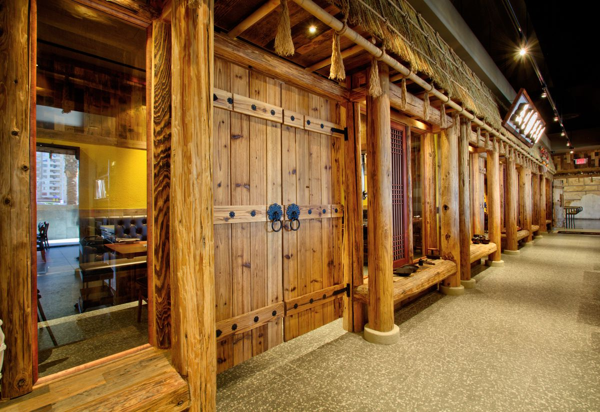 The private dining rooms at Chosun Hwaro & Nara Teppan