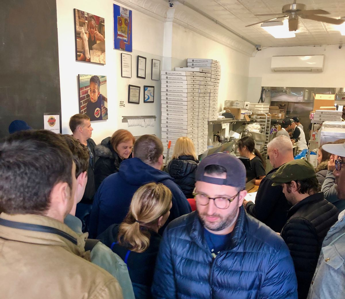 crowded pizza shop