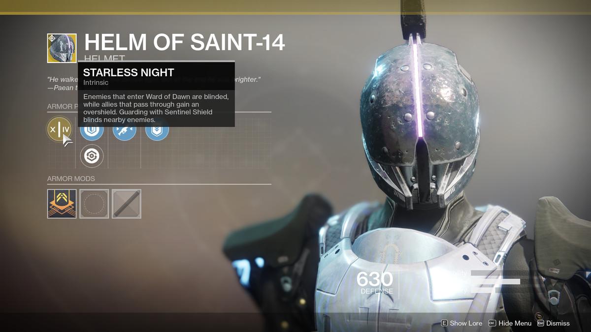 Helm of Saint-14 Exotic Destiny 2