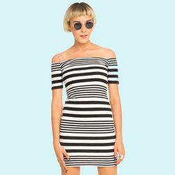 """<b>Motel</b> Debbie Dress in Mixed Stripe, <a href=""""http://www.motelrocks.com/products/Motel-Debbie-Off-The-Shoulder-Bodycon-Dress-In-Mixed-Stripe.html"""">$65</a>"""