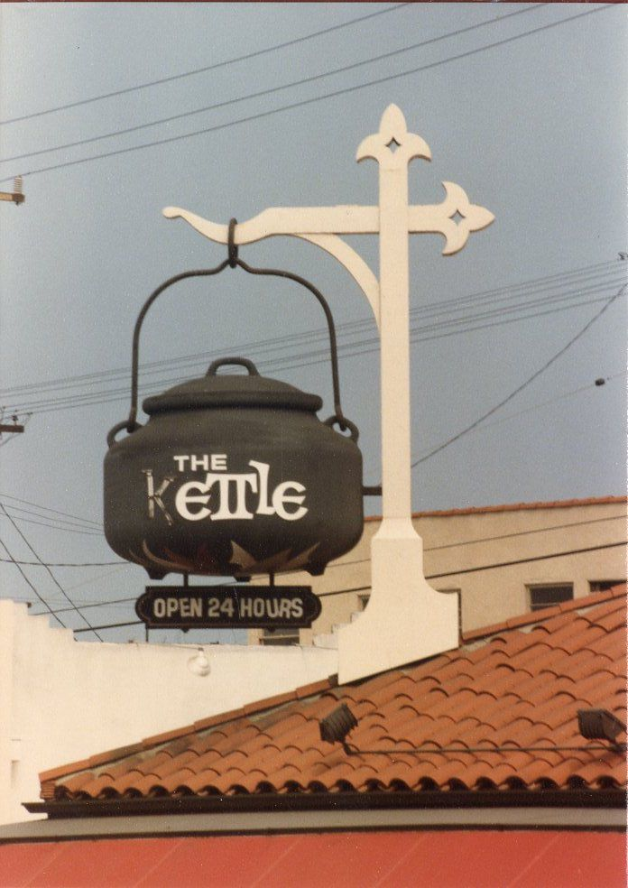 A vintage vertical image of a kettle and 24 hour restaurant sign.