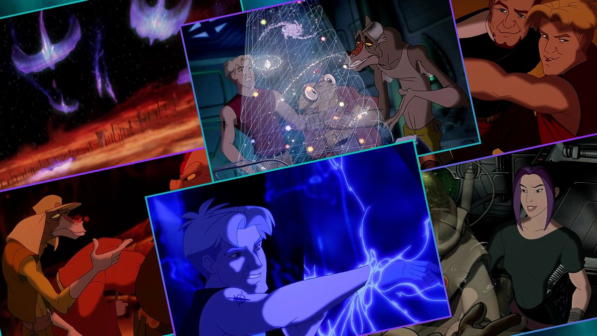 Graphic grid featuring six cartoon images from Disney's Titan AE movie