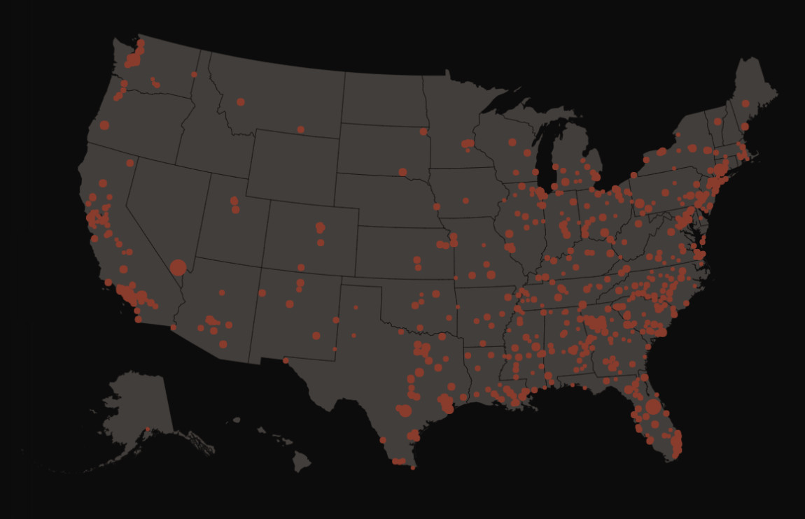 A map of mass shootings in the US.