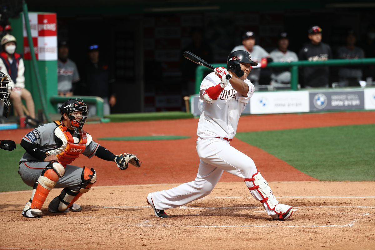 Han Dong-min of SK Wyverns bats during the Korean Baseball Organization League opening game between SK Wyverns and Hanwha Eagles at the empty SK Happy Dream Ballpark on May 05, 2020 in Incheon, South Korea.