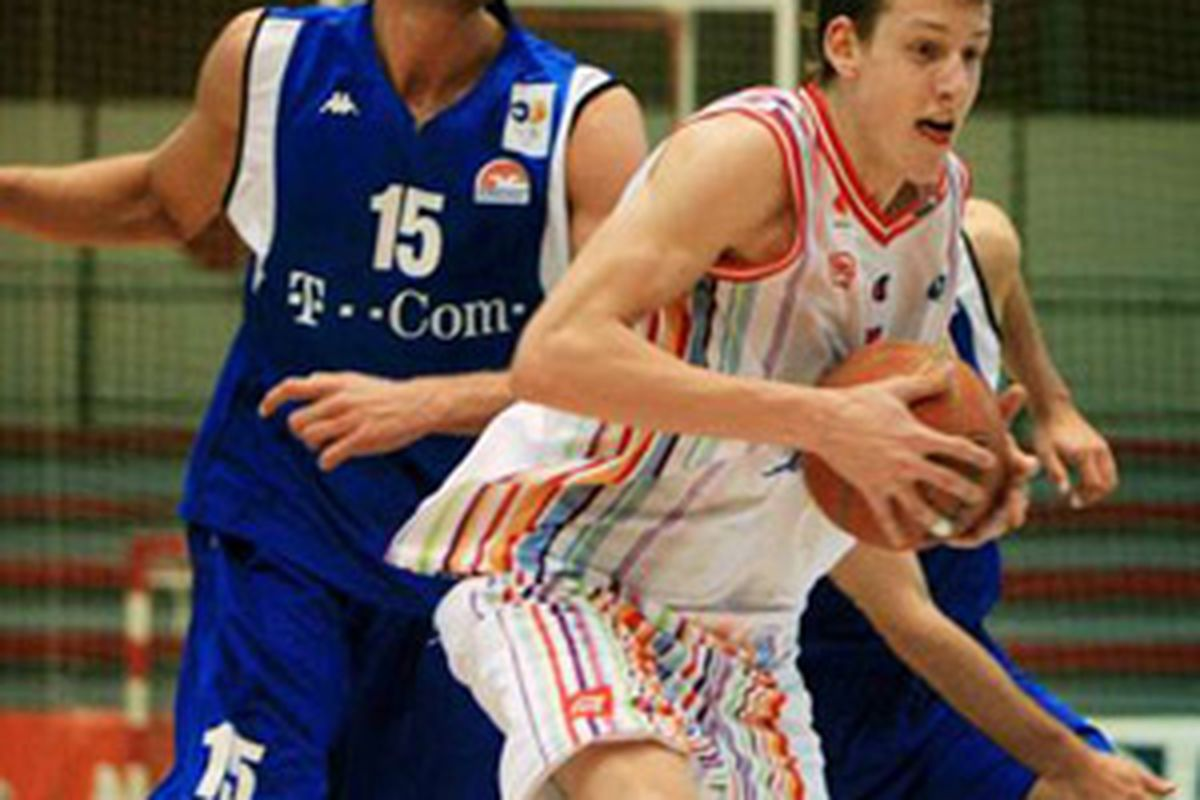 Jan Vesely and his colorful outfit doing what he does.