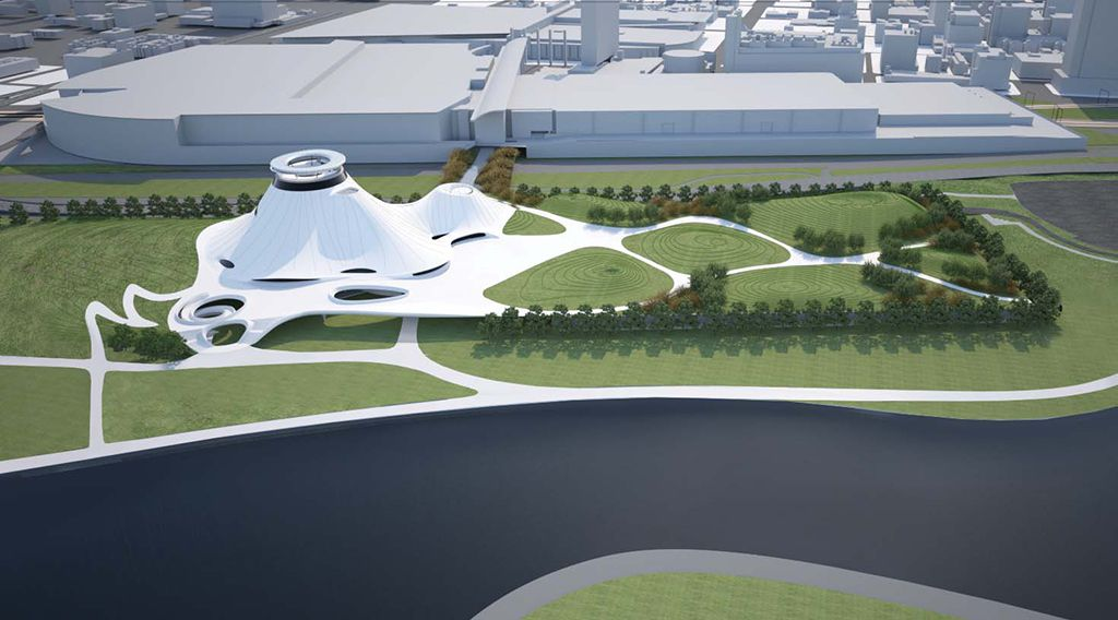 A rendering of the proposed new design for the Lucas Museum of Narrative Art, in which the museum would take the place of the current McCormick Place East convention center building.   Provided rendering