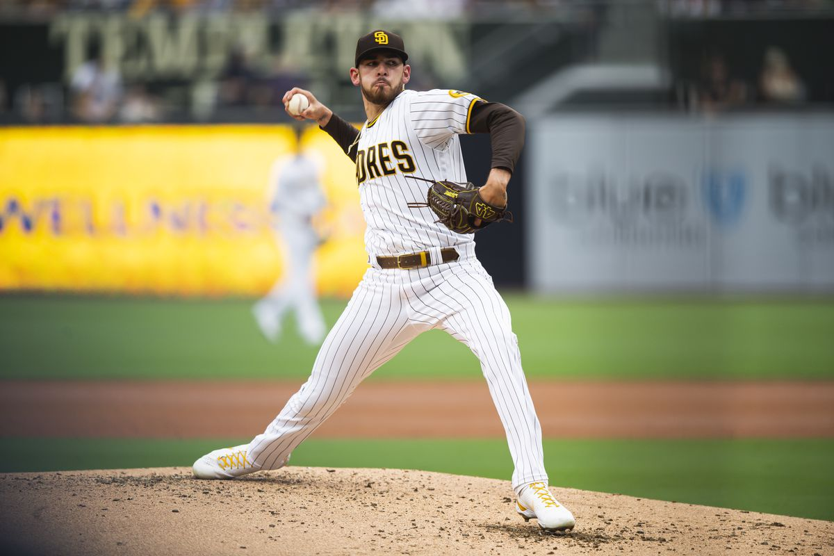 Joe Musgrove #44 of the San Diego Padres pitches in the second inning against the Cincinnati Reds on June 17, 2021 at Petco Park in San Diego, California.