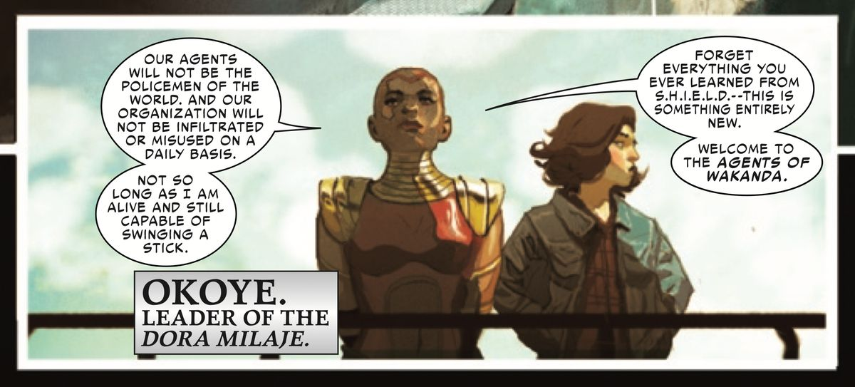 Okoye of the Dora Milaje and Roz Solomon, former SHIELD agent and girlfriend of Thor in Thor #9, Marvel Comics (2019).