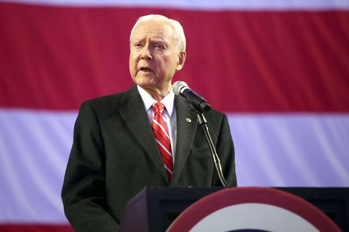 FILE - Sen. Orrin Hatch speaks during the Utah Republican Party Nominating Convention at the Maverik Center in West Valley City on Saturday, April 21, 2018.