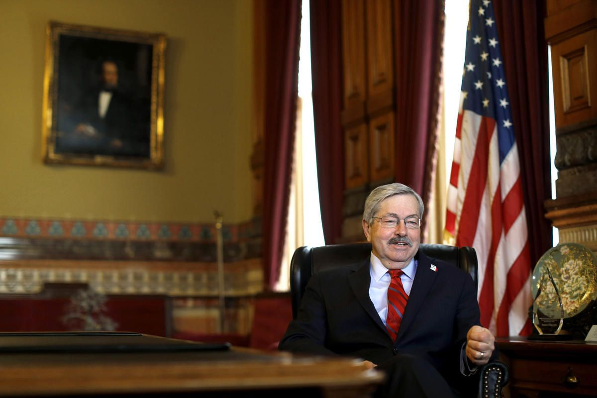 In this Jan. 28, 2016 photo, Iowa Gov. Terry Branstad speaks during an interview with The Associated Press in his office at the Statehouse in Des Moines, Iowa. Iowa's longtime Republican governor sees a national electorate very unhappy with government and