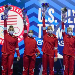 Members of the U.S. Women's Olympic Gymnastic Team, Simone Biles, Suni Lee, Jordan Chiles, and Grace McCallum plus individual members MyKayla Skinner and Jade Carey (L-R) are announced after the U.S. Olympic Gymnastics Trials Sunday, June 27, 2021, in St. Louis.