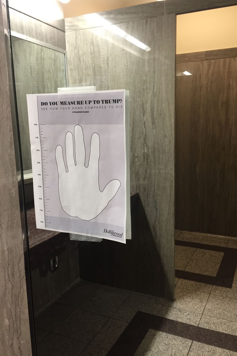 Bathroom Sign Prank spotted in a capitol hill office bathroom: donald trump hand size