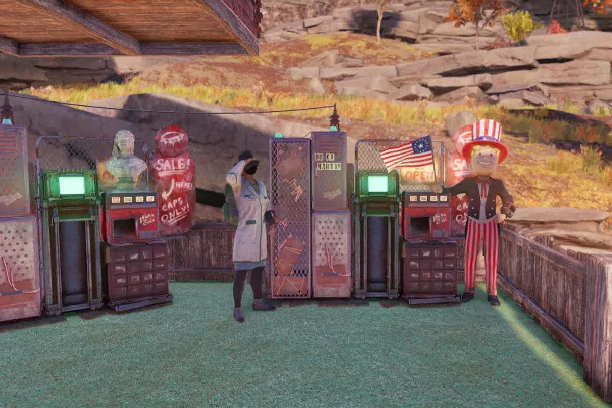 Fallout 76 - a player, dressed as a doctor, poses next to a sales machine filled with stimpacks.