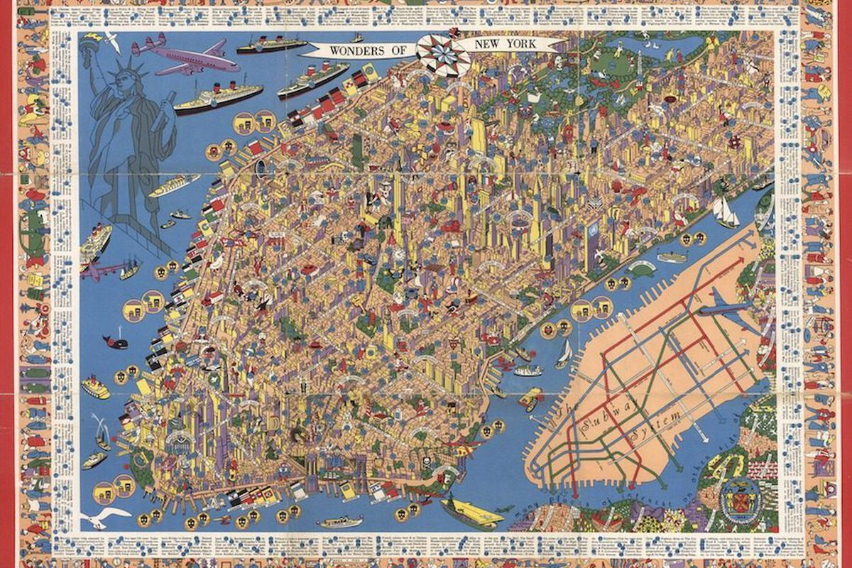 Picture Of New York Map.This Gorgeous Map Of 1950s Nyc Is Full Of Detail Whimsy Curbed Ny