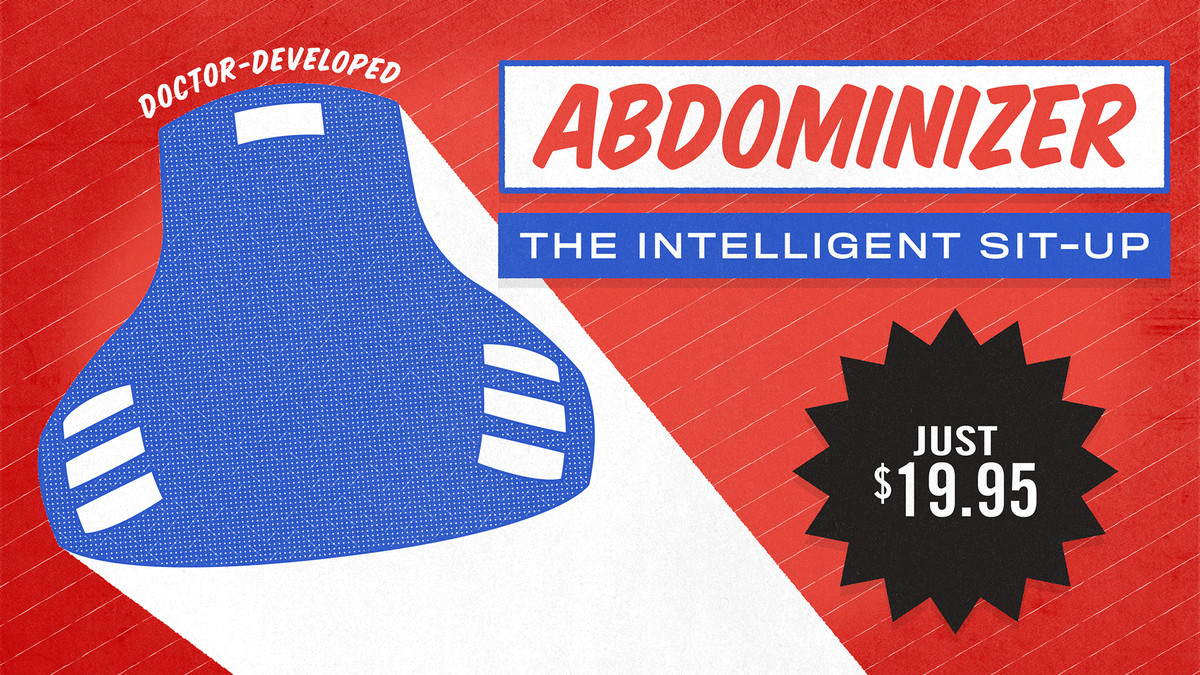 A mockup of an ad for the Abdominizer.