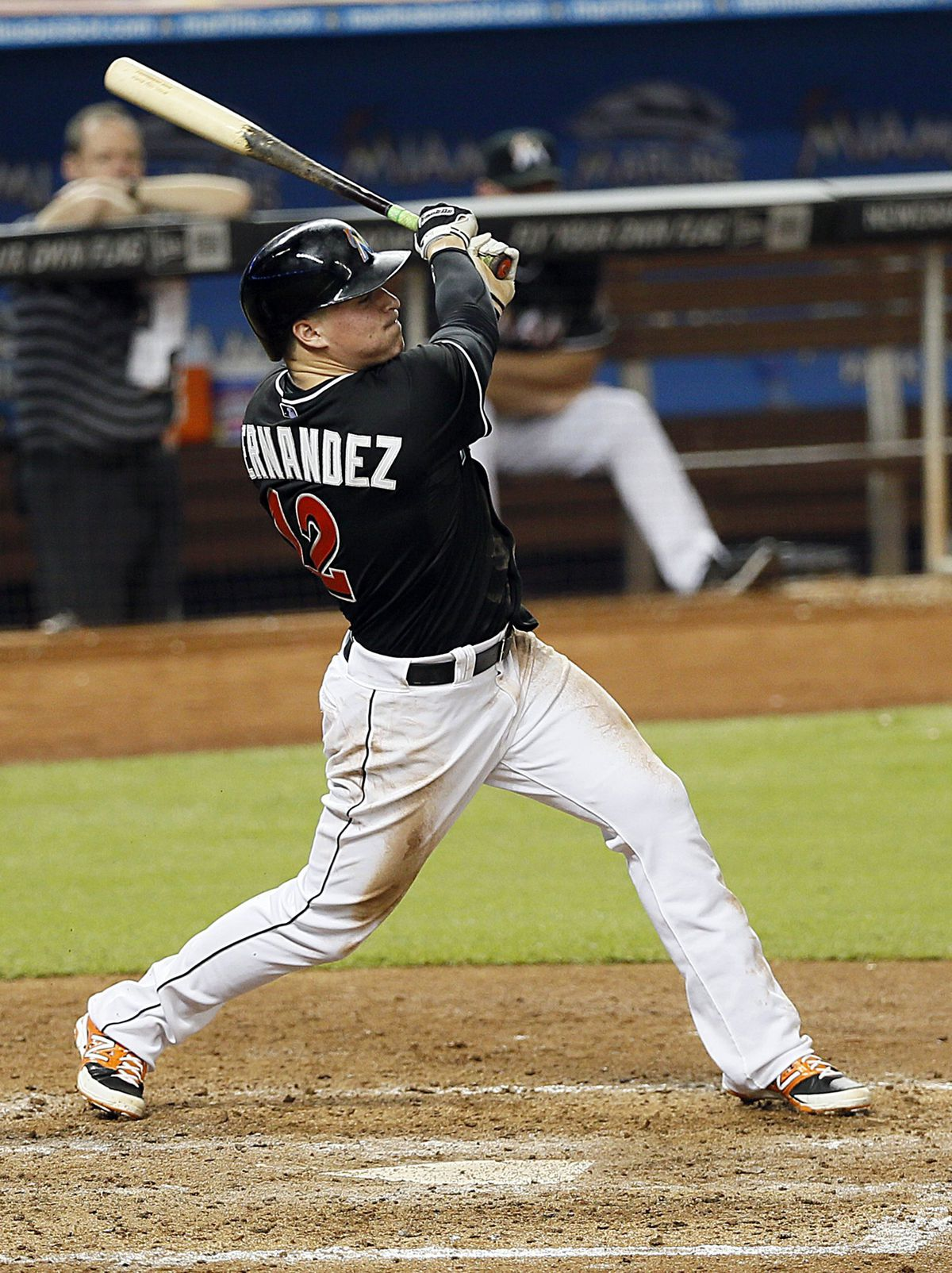Miami Marlins' Enrique Hernandez hits a triple against the Philadelphia Phillies during the fifth inning (2014)