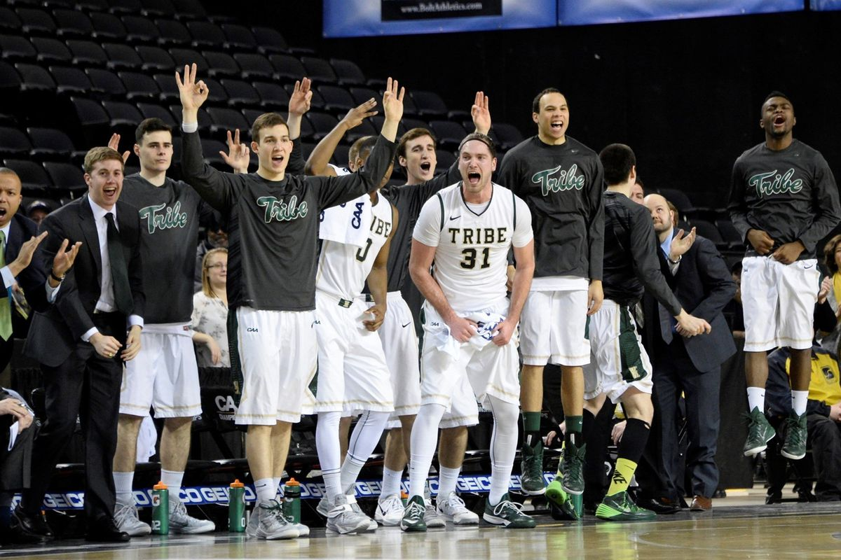 William & Mary Players Celebrate During the 72-59 Win Over Elon