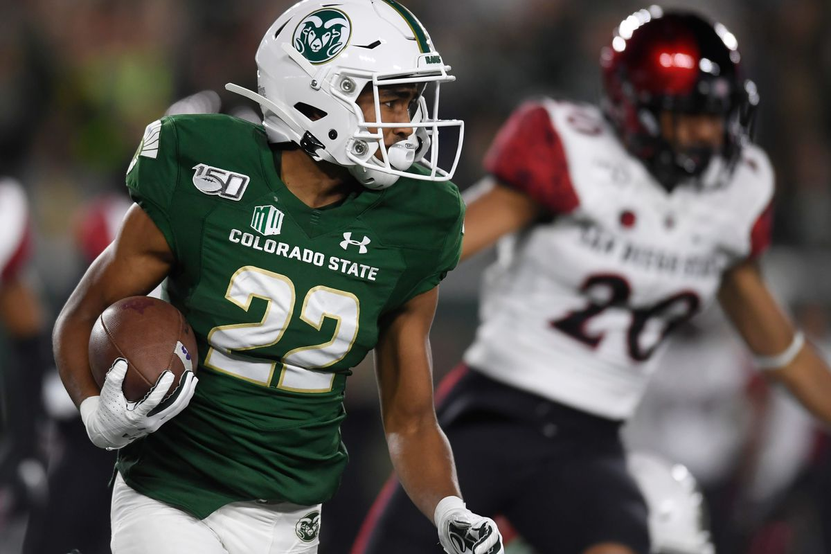 Colorado State Rams wide receiver Dante Wright (22) runs the ball in the first quarter of the game at Canvas Stadium at Colorado State University in Fort Collins, Colo. on Saturday, Oct. 5, 2019.