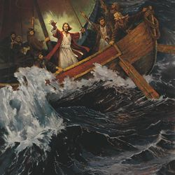 This painting depicts the New Testament story of the Savior calming the storm (Mark 4:36-41).