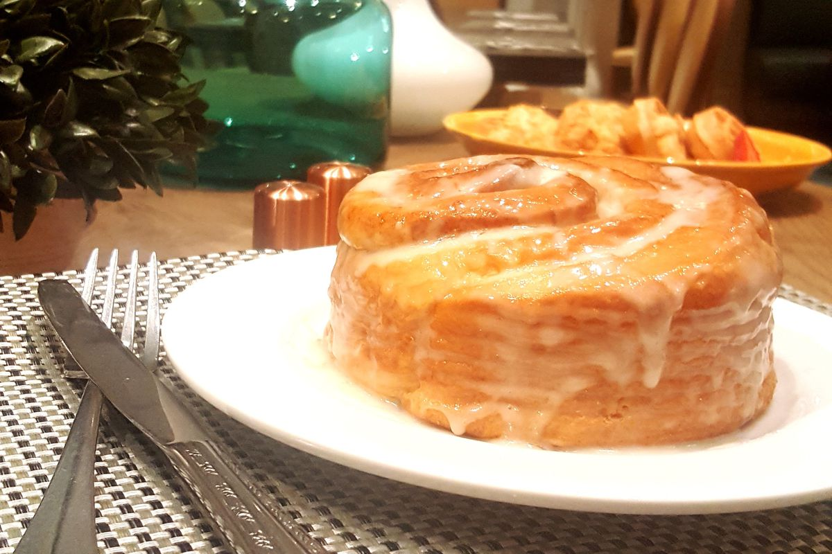 Cinnamon roll at Copper Whisk Cafe
