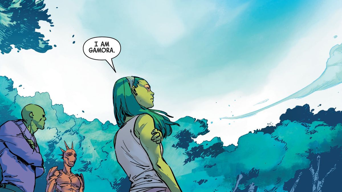 """""""I am Gamora,"""" says Gamora, waiting under a clear blue sky. Drax and Groot wait with her, in Guardians of the Galaxy #3, Marvel Comics (2020)."""